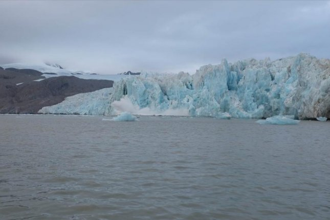 Glaciers along the west coast of Sweden's Svalbard islands have been calving at an accelerated rate over the last several years. Photo by Nina Kirchner/Stockholm University
