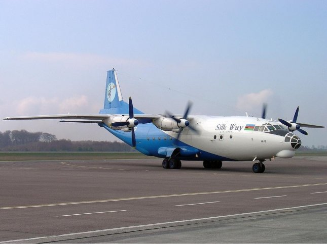 File photo of a Silk Way Airlines Antonov An-12BP similar to the one that crashed at Dwyer Base in southern Afghanistan killing seven people. Photo courtesy Luc Willems