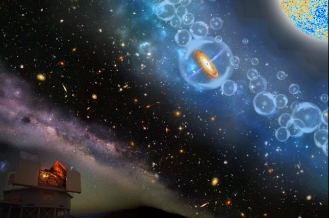 An artistic rendering shows the Magellan Telescopes peering up at the most-distant supermassive black hole yet discovered. Photo by Robin Dienel/Carnegie Institution for Science