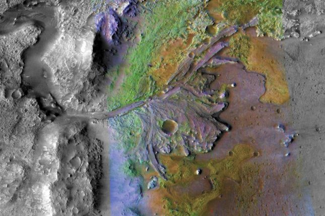 The Mars 2020 rover is set to land in Jezero Crater, which scientists estimate was once filled with water. Photo by NASA/MRO