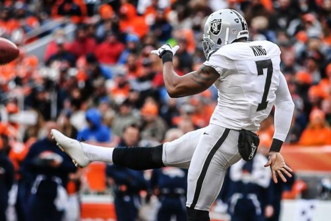 Punter Marquette King (7) of the Denver Broncos is listed as doubtful for Sunday's game against the New York Jets because of a right thigh injury. Photo courtesy of Denver Broncos/Twitter