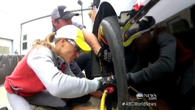 Christmas Abbott at a practice session, whose times working the front tire are within milliseconds of the big leagues.