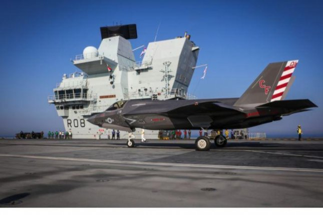 Ten F-35B fighter planes of the U.S. Marines landed on the deck of the British aircraft carrier HMS Queen Elizabeth on Tuesday in preparation for naval and aerial exercises. Photo courtesy of Royal Navy