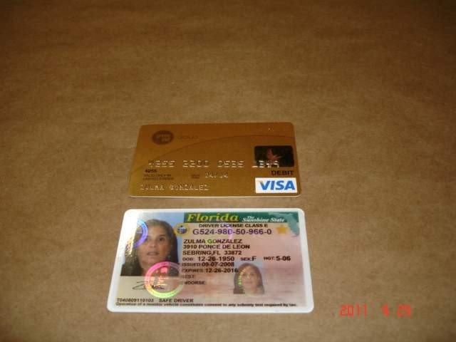 The fake ID and credit card, courtesy of Lee County Sheriff's Office.