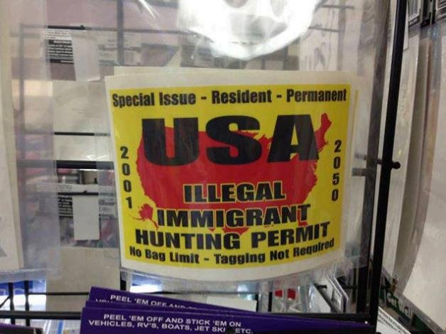 This sticker for sale in Wisconsin started a Facebook fight among state lawmakers that led to Gov. Scott Walker firing his DOT appointee Steven Krieser. The sticker reads: USA Illegal Immigrant Hunting Permit -- No Bag Limit -- Tagging Not Required. (Credit Wisconsin Rep. Gordon Hintz, D-Oshkosh)