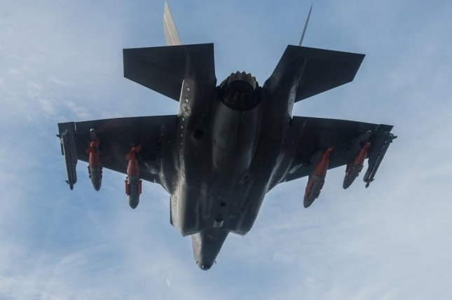 Dan Levin, F-35 Pax River Integrated Test Force, pilots BF-3 on its 691st flight for a flutter and buffet test mission on Feb. 1 at Naval Air Station Patuxent River with external weapons. Photo by Dane Wiedmann/U.S. Navy.