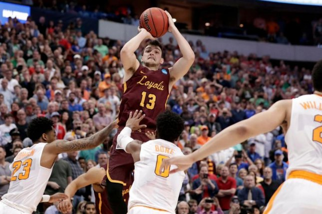 Loyola-Chicago guard Clayton Custer (13) pulls up and hits a game-winning shot versus the Tennessee Vols. Loyola faces off against Nevada in the Sweet 16 Thursday in Atlanta. Photo courtesy of Loyola-Chicago Basketball/Twitter