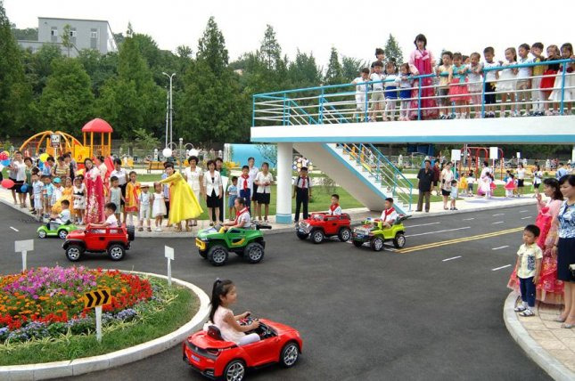 A North Korean children's traffic park in Pyongyang in July 2017. North Korean cities will each have a traffic park by the end of November, according to state media. File Photo by Uriminzokkiri