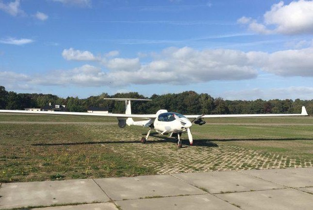 The Redkite surveillance pod, mounted on a powered glider, was demonstrated for government officials in the Netherlands. Photo courtesy of Logos