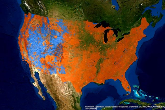 Scientists found habitat loss for endangered species is two times greater on private lands, colored orange, than on federal lands, coded blue. Photo by Tufts University