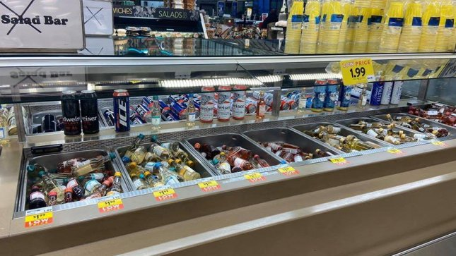 A Missouri grocery store chain received viral attention online after repurposing its closed salad bars to dispense alcohol, cereal, candy and other items. Photo courtesy of Stephanie Hadfield/Dierbergs Markets