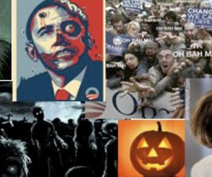 A screengrab of an e-mail depicting President Obama as a zombie with a bullet hole in his head distributed by Loudoun County Republican Committee Communications Director Robert Jesionowski. (tooconservative.com)