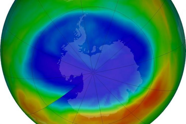 A map shows the maximum extent of the ozone hole above Antarctic measured in September 2016. This year's maximum was the smallest since 1988. Photo by NASA/NASA Ozone Watch/Katy Mersmann