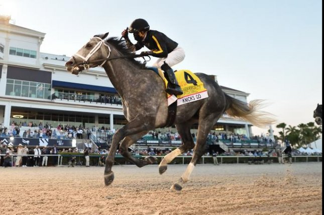 Knicks Go wins Saturday's Grade I Pegasus World Cup, likely headed to Saudi Cup. Photo courtesy of Gulfstream Park