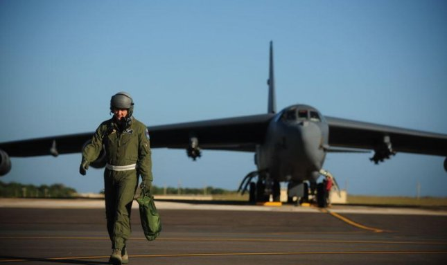 A B-52 bomber arrives at Joint Region Marianas-Anderson Air Force Base, Guam, where a new $42 million Standoff Weapons Complex is set to for construction. Photo by SSgt. Jacob Bailey/USAF