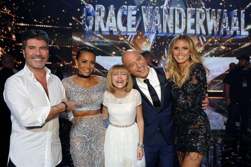 (L-R) Simon Cowell, Mel B, Grace VanderWaal, Howie Mandel and Heidi Klum on the set of America's Got Talent. Photo courtesy of NBC