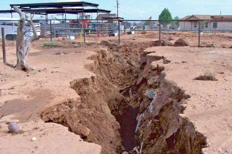 With more agricultural over pumping of underground aquifers predicted in Arizona, man-made earth fissures and collapsing land levels could increase, residents and geologists worry. Photo courtesy of the Arizona Geological Survey