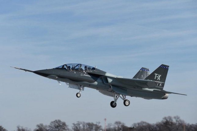 The T-X jet trainer takesto the air. Photo courtesy Boeing