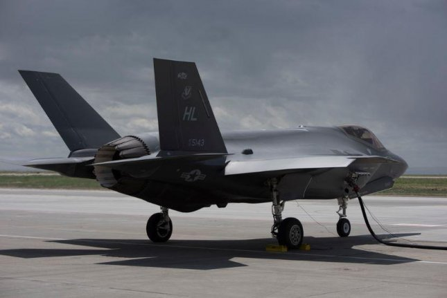 An F-35A fighter plane from Hill AFB, Utah, refuels at its new home at Mountain Home AFB, Idaho, on June 20, 2019. Photo by A1C Andrew Kobialka/U.S. Air Force/UPI