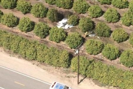 This photo shows an aerial view of the scene of a small plane crash outside Ventura, Calif., on Saturday. The two people aboard were pronounced dead at the scene. Photo Courtesy Ventura County Sheriff's Department