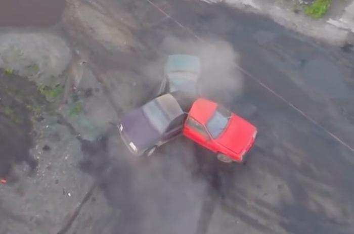 YouTube mechanics Garage 54 combined three cars into a massive automotive fidget spinner.  Screenshot: Garage 54/YouTube