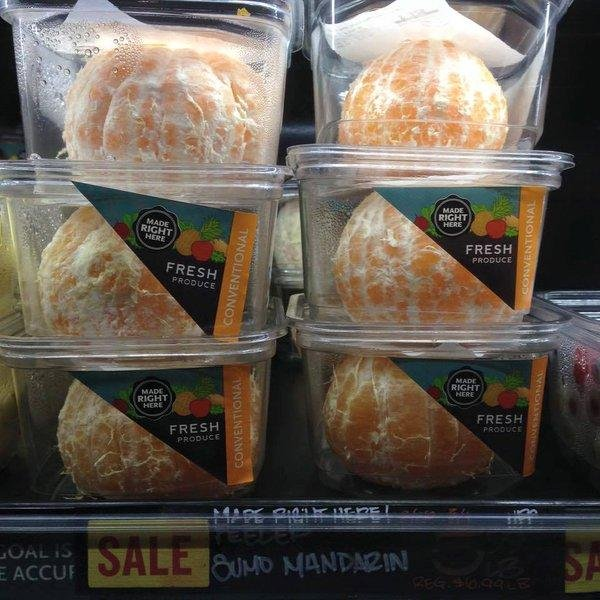Twitter user Nathalie Gordon sparked a debate after sharing a photo of pre-peeled oranges being sold at Whole Foods supermarkets. Her tweet quickly became viral and caught the attention of Whole Foods' Twitter account, which promised the product would be pulled. Photo by Nathalie Gordon/Twitter