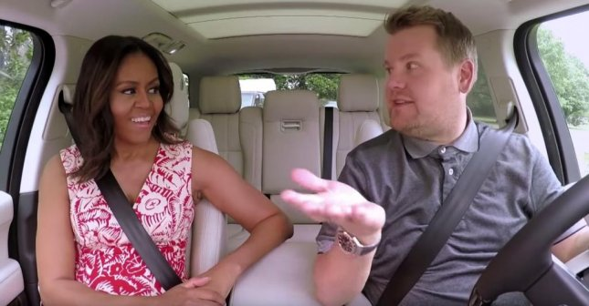 Michelle Obama and James Corden during a special segment of Carpool Karaoke on The Late Late Show. The duo were later joined by Missy Elliott. Photo courtesy of CBS/Youtube
