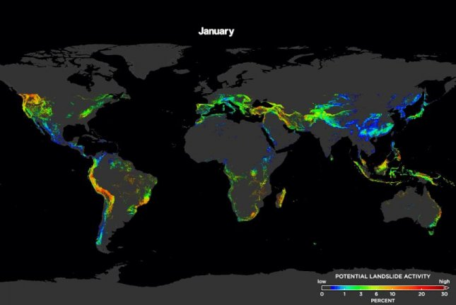 Nasa landslide map estimates risk in real time upi the new model updates the risk of landslides around the world every 30 minutes photo by nasas goddard space flight center scientific visualization gumiabroncs