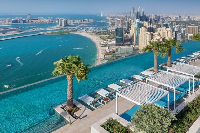 The pool on the roof of theAddress Beach Resort in Dubai was named the world's highest outdoor infinity pool by Guinness World Records. Photo courtesy of Guinness World Records