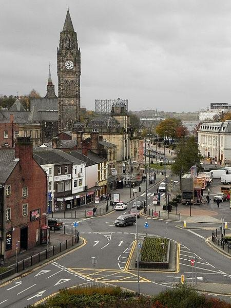 The town of Rochdale in England has proposed a public spaces protection order to prevent swearing and other anti-social behavior in the city center. People caught using foul and abusive language, begging, loitering and taking part in other similar behaviors could be warned, removed from the area or fined. Photo by David Dixon/Wikimedia Commons