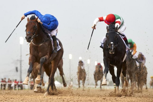 Thunder Snow, seen winning the 2017 UAE Derby in Dubai, hopes to improve on his failed run in the Kentucky Derby when he contests Saturday's $6 million Breeders' Cup Classic at Churchill Downs. (Dubai Racing Club photo)
