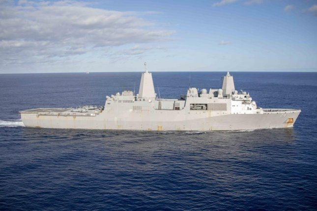 The USS Arlington, a San Antonio-class amphibious transport dock ship, transits the Atlantic Ocean on December 24, 2018. On Friday, the Pentagon dispatched to ship to the Middle East. Photo by Mass Communication Specialist 2nd Class Megan Anuci/U.S. Navy