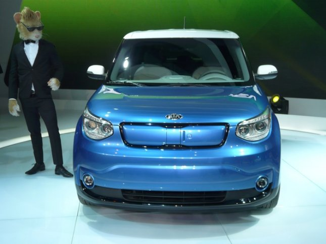 The 2015 Kia EV, Kia's first all-electric vehicle, was unveiled at the Chicago Auto Show on Feb. 6, 2014.The Soul EV goes on sale later this year in California and Oregon. UPI