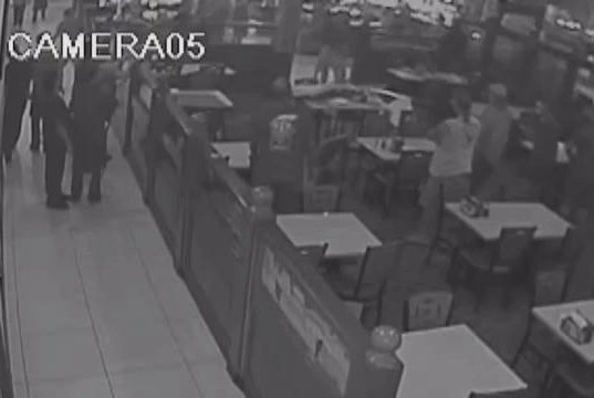 An alleged would-be burglar crashes through the ceiling of a Daytona Beach, Fla., restaurant and lands on a patron. WTOL-TV video screenshot