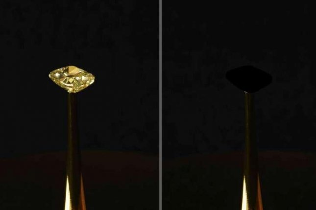 Scientists used their new material to turn a $2 million diamond into a black void. Photo by R. Capanna/A. Berlato/A. Pinato