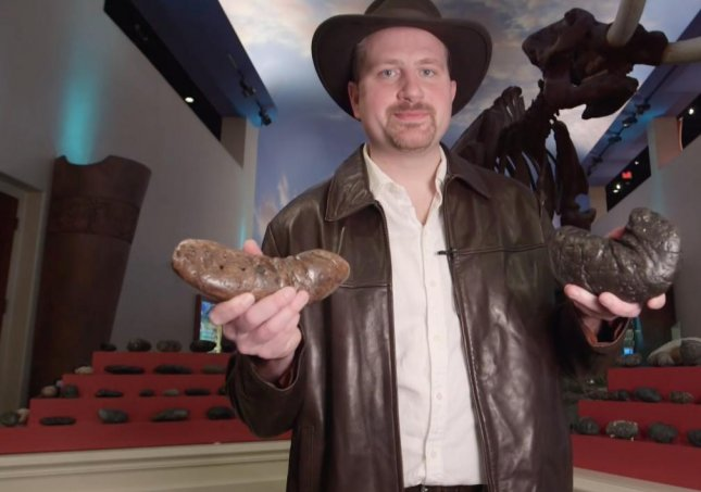 George Frandsen of Bradenton, Fla., has claimed the Guinness World Record for the largest collection of coprolite with 1,277 pieces of fossilized feces, collected from 15 U.S. states and eight other countries.  Screen capture/Guinness World Records/YouTube