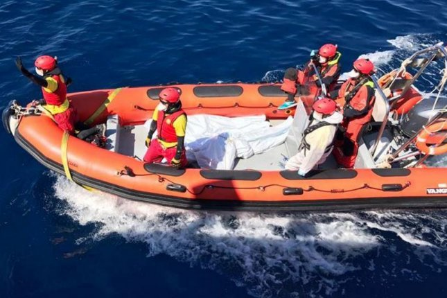 Proactiva Open Arms said it had recovered five bodies floating near two capsized boats about 18.5 miles off the coast of Libya. Photo by Proactiva Open Arms/Twitter