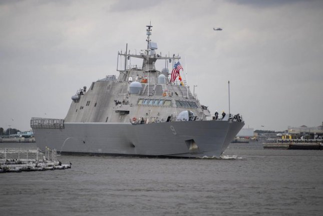 The Freedom-variant littoral combat ship USS Little Rock departs Mayport, Fla. for the ship's maiden deployment Thursday. The Little Rock deployment will be the third deployment of a littoral combat ship in support of Joint Interagency Task Force  South's Campaign MARTILLO. Photo by Devin Bowser/U.S. Navy