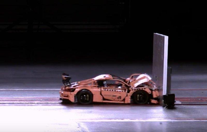 German automobile club crash tests Lego Porsche