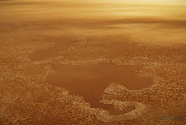 An artistic rendering showcases the steep rims that form Winnipeg Lacus, a small lake on Saturn's moon Titan. Photo by NASA/JPL-Caltech