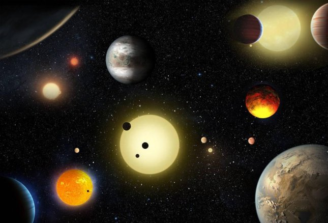 This artist's concept depicts select planetary discoveries made to date by NASA's Kepler space telescope. Image courtesy NASA/W. Stenzel