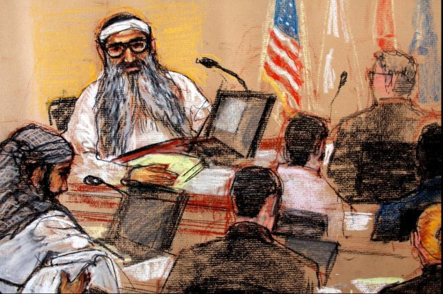 A courtroom sketch depicts accused 9/11 mastermind Khalid Sheikh Mohammed during a hearing in 2009. Mohammed and four others face trial at Guantanamo Bay, Cuba, this week. Image by Janet Hamlin/EPA-EFE