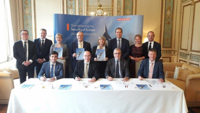 Officials of Eurofighter consortium companies sign endorsements to support Belgian innovation centers as part of their bid to replace Belgium's F-16s with Typhoon aircraft. Photo courtesy of Eurofighter