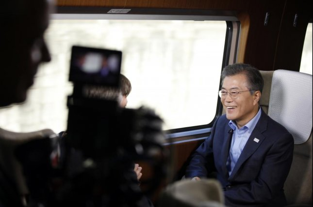 South Korean President Moon Jae-in gives an interview with NBC News on a newly built high-speed train on Tuesday. Photo by Yonhap