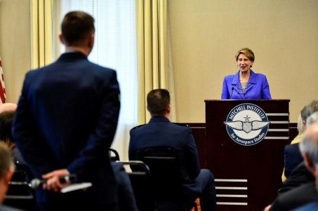 Air Force Secretary Barbara Barrett answers an Airman's question about joining U.S. Space Force during a forum Tuesday in Washington, D.C. Photo by Eric Dietrich/U.S. Air Force