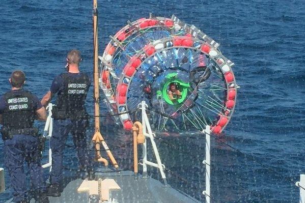 The U.S. Coast Guard retrieved Reza Baluchi's hydro pod Sunday, ending his trip from South Florida to Bermuda. Photo courtesy U.S. Coast Guard.