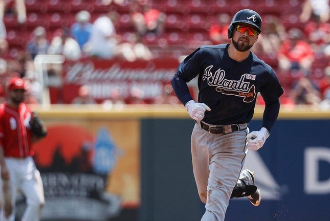 Ender Inciarte drove in a career-high five runs as the Braves pounded the Reds, 13-8. Photo courtesy MLB/Twitter