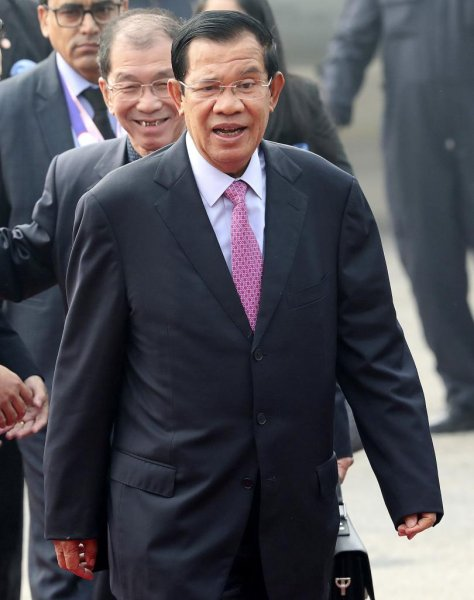 Cambodian Prime Minister Hun Sen arrives at the Airport in New Delhi on January 24. On Friday, a group of U.S. Senators denounced Hun Sen's government for illegitimate elections and human rights abuses. Photo by Harish Tyagi/EPA-EFE