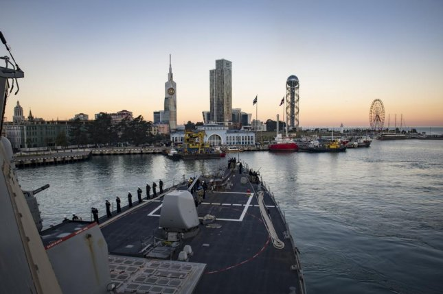 The Arleigh Burke-class guided-missile destroyer USS Donald Cook on Monday arrived in Batumi, Georgia. Photo by Mass Communication Specialist 2nd Class Ford Williams/U.S. Navy