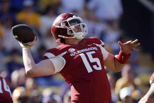 Arkansas Razorbacks quarterback Cole Kelley has been suspended indefinitely following his arrest on suspicion of driving while intoxicated and careless driving. Photo courtesy of Arkansas Football/Twitter